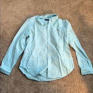 Polo Ralph Lauren Solid blue knit oxford shirt